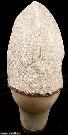 Augusta Auctions, November 2009 Museum Fashion & Textile Sale, Lot 172: Mans Quilted White Cap, Persia, 18th C.