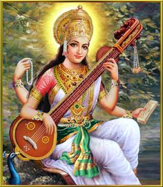 The Tridevi is a concept in Hinduism that are personified by the forms of Hindu Goddesses: Saraswati goddess of learning, Lakshmi goddess of wealth and Parvati or Durga goddess of power. Saraswati Mata, Saraswati Goddess, Saraswati Picture, Saraswati Painting, Reiki, Brahma, Indiana, Divine Mother, Krishna Art