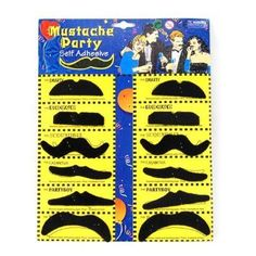 chinkyboo Pack of 12 Self Adhesive Assorted Fake Moustache / Mustache Set Fancy Dress Party Birthday Stylish * You can get additional details at the image link.