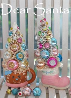 Dear Santa Holiday Sparkle Christmas bottle brush tree