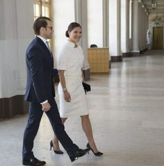 Swedish Crown Princess Victoria and Prince Daniel during the visit of the King and Queen of Belgium at the Royal Palace of Stockholm, 2014-04-29.