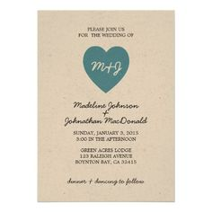 true love RUSTIC WEDDING invitation BLUE -- This wedding invitation is available in custom colors to match your event.