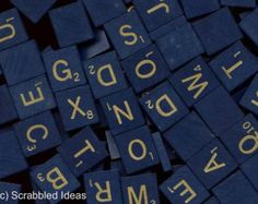 50th ANNIVERSARY SCRABBLE Tiles - Bulk Lot of 50 Assorted Blue / Gold Wooden Letters / Pieces