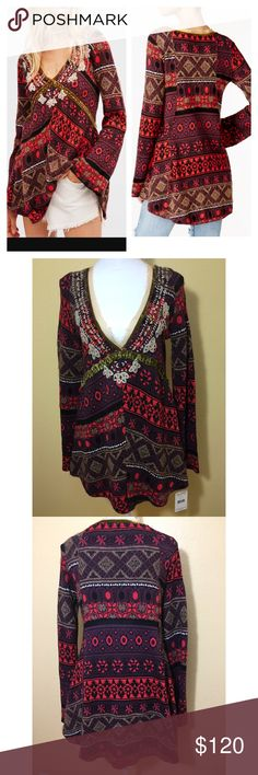 Free People World Traveler Printed Boho Top NWT. Size Xsmall. Run slightly large. It could fit a small as well. Free People Tops Tunics