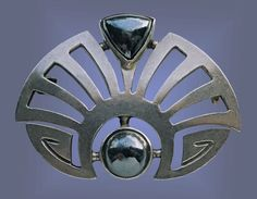 This is not contemporary - image from a gallery of vintage and/or antique objects. ANDREAS ODENWALD Jugendstil Brooch Silver Hematite