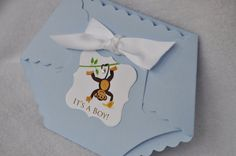 Monkey Baby Shower Diaper Invitations: Baby Bow Monkey, Giraffe, Animals Baby Shower Diaper Invitation on Etsy, $2.50