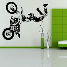 STUNT BIKE MOTORBIKE X GAMES MX MOTORCROSS DIRT BIKE Wall art room sticker decal in Home, Furniture & DIY, Home Decor, Wall Decals & Stickers | eBay