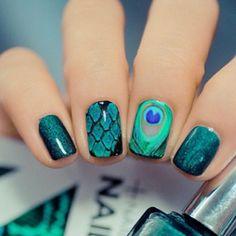 NCLA Peacock nail wraps! Love!