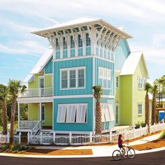 Key West turquoise and lime on the corner | What if the tower was made from a…