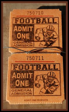 Football Tickets  Scrapbooking Tags Invitations by HPLshop on Etsy, $1.50