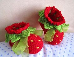 Red Strawberry Booties! I have to make these