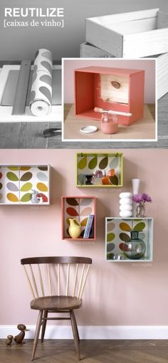 Art These DIY shelves are from wine boxes. Any box would really do. These are cute, bright, creative and perfect storage. How about in the kitchen for dishes or cookbooks? crafty-ideas