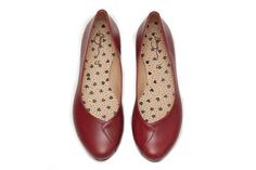 Red Leather Shoes Red Shoes Flat Shoes Red Ballerina Shoes