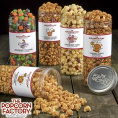 The Popcorn Factory has great gourmet popcorn gift baskets and ideas for every occasion. Delicious popcorn tins and snacks in dozens of flavors since Popcorn Snacks, Flavored Popcorn, Gourmet Popcorn, Popcorn Recipes, Popcorn Packaging, Packaging Snack, Food Packaging Design, Popcorn Store, Pop Corn