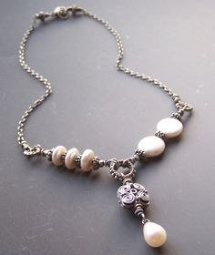 Pearl Necklace Vintage Patina Asymmetrical by adornmentsbymilani