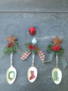 Christmas ornaments, painted tea spoon ornaments.