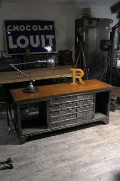Brocante, déco industrielle brocante, meuble de métier, meuble d'atelier