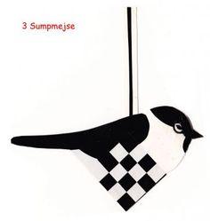 Fugle chickadee woven heart ornament