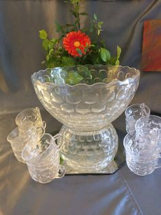 Vintage Federal Glass Yorktown Punch Set Bowl Cup by KirbysKlosets