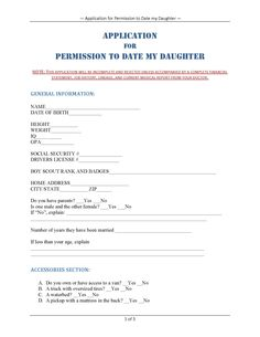 Dating website application form