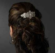 Sparkling Flower & Leaf Design Bridal Barrette Hair Clip. #Weddings Daisy Days