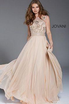 4fb7c44bd44 Champagne Embellished Bodice Chiffon Formal Dress 53036