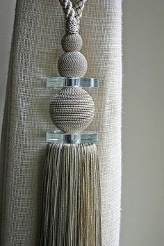 Pearl an crystal tassel Tassel Curtains, Curtains With Blinds, Window Coverings, Window Treatments, Drapery Designs, Bedroom Prints, Curtain Styles, Pelmets, Passementerie