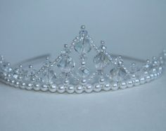 Pretty Pearl and Crystal Flower Girl Tiara by CreativeCalling1
