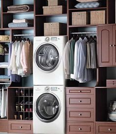 Stacking full-size washer and dryer in master closet - must have!