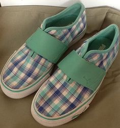 efa190e709ca40 Puma El Rey Unisex Youth Slip on Plaid Canvas Sneakers Size 4 Green White  Blue