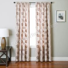 Leaf patterns chocolate brown and curtain panels on pinterest for 120 inch window treatments