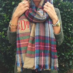 Monogrammed Blanket Scarf - Cort In Session