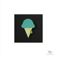 Icecream - plywood brooch