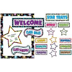 Let the stars shine in your classroom. Use these fanciful pieces to welcome students, to post class rules or schedule, and to acknowledge students who display good character traits. The blank chart me