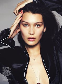 """""""Body Talk"""" Bella Hadid for ELLE US May 2015 look at those cheekbones! I'm thinking slightly more defined eyes and a bit more glow but I love this look"""