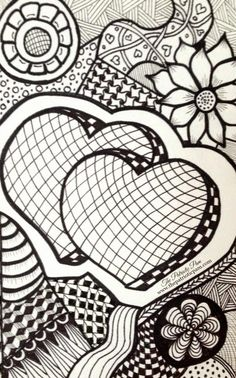 Zentangle of hearts
