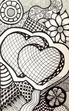 zentangle patterns hearts zentangles designs zen doodles easy drawings drawing doodle draw zendoodles bing discover tangle