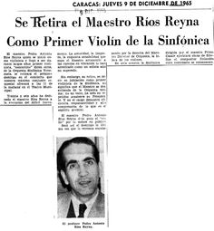 Ríos Reyna se retira como primer violín de la Sinfónica. Publicado el 9 de diciembre de 1965.