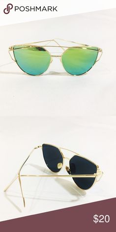 NWOT green and gold geometric sunglasses Super cute mermaid sunnies brand new mirrored Accessories Sunglasses