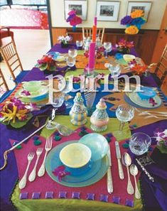 Purim:  Create a beautiful and cheerful table scape for Purim.  For more Purim ideas, check out Everyday Simchas Purim Pinterest Board.