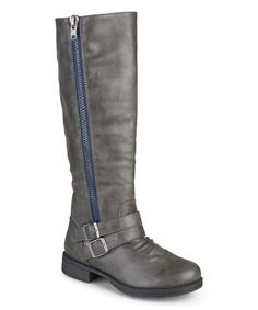 Journee Collection Women's 'Lady' Regular and Wide-calf Side-zipper Knee-high Riding Boot (Grey- 8 X-Wide Calf), Grey (leather) Wide Calf Boots, Tall Boots, Knee High Boots, Block Heel Boots, Leather Riding Boots, Grey Boots, Lady Grey, Buckle Boots, Grey Leather