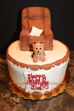 Awesome Dad's Yorkie Birthday Cake... This website is the Pinterest of birthday cake ideas