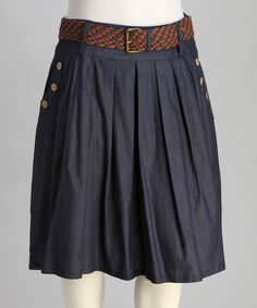Navy Belted Pleated Plus-Size Skirt - Plus