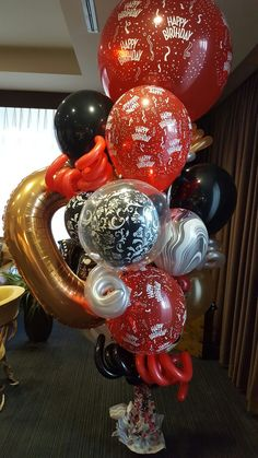 Red Balloon, Balloon Bouquet, Balloons, Ornament Wreath, Ornaments, Bouquets, Wreaths, Halloween, Home Decor