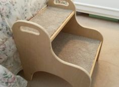 Pet Stairs - This isn't my DIY, my Dad made it. I wanted a set of steps for our little dog so she could get up on the bed on her own. I found that most store bought steps were ugly and/or expensive. So I enlisted my Dad's help, told him what I wanted and this is what he came up with. Genius! There is a half inch lip front and back of each step so that it will hold the carpet piece securely without tape or nails. http://ithlia.com/dim-did-it-myself/