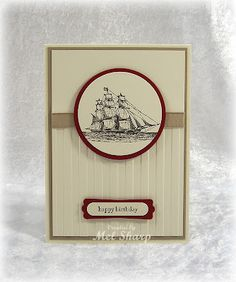 A great guy card by Mel with The Open Sea, Teeny Tiny Wishes, & Stripes embossing folder.