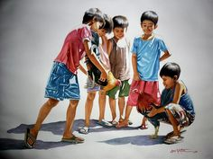 Portrait Painting - Cock Fight by Jose Vistan Art Village, Village Photos, Filipino Culture, Filipino Art, Composition Painting, Village Photography, Philippine Art, Indian Art Paintings, Artwork Images
