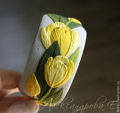 """Браслеты ручной работы. Ярмарка Мастеров - ручная работа Браслет """"Жёлтые тюльпаны"""" из полимерной глины с цветами. Handmade."""