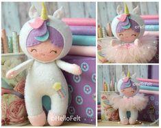 Felt pattern Little Unicorn Girl Doll Pattern Pattern Soft