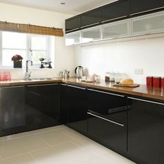 For Angela Black Kitchens On Pinterest Gloss Kitchen
